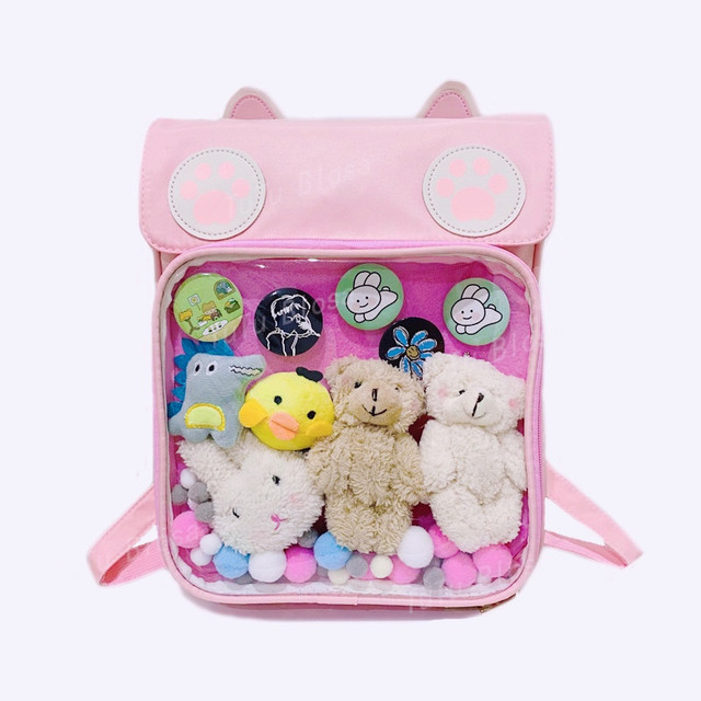 2020 Women Cute ITA Bag Wih Cat Bagging Backpacks Paws School backpack for teenager girls transparent backpack Clear Itabag H204 2