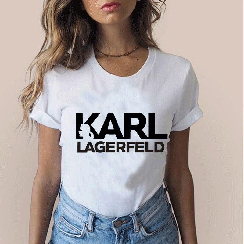 Karl Lagerfeld T Shirt Women Unisex Summer Short Sleeve Funny T Shirts Harajuku Tumblr Cute Cat Tops XS-4XL
