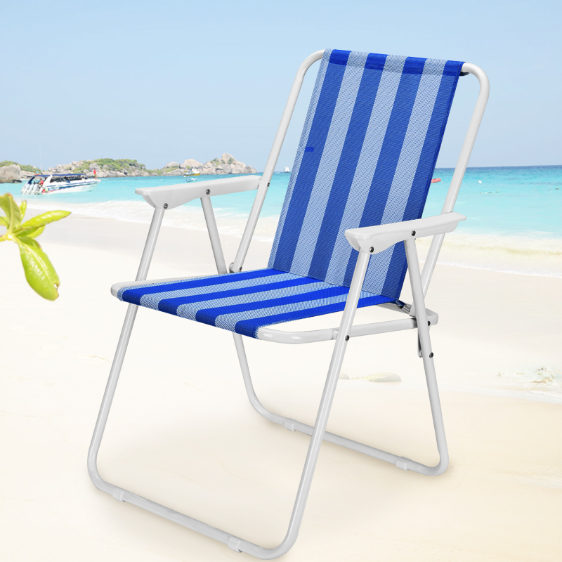 Comfortable Minimalist Blue Striped Fishing Chair Quick Storage Sketch Stool Portable Outdoor Camping Beach Chair