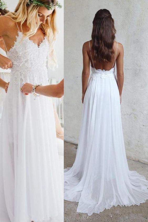Beach Chiffon Backless Spaghetti Straps Sheath Wedding Dress Sexy Lace New Draped Appliques Bridal Gowns Custom Made V Neck