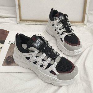 Otoño nuevo 2020 gran oferta moda mujer Casual zapatos cabeza redonda torta de esponja con malla zapatillas de deporte de gran tamaño fila zapatos W20-33