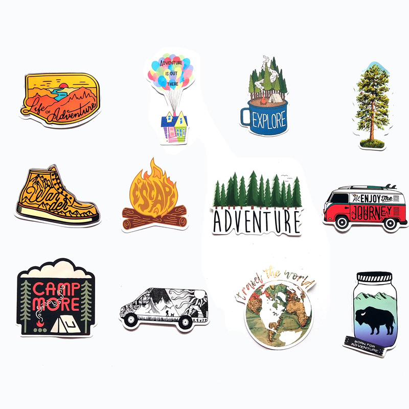 65pcs Camping Travel Stickers Wilderness Adventure Outdoor Landscape Waterproof Decal Sticker To DIY Laptop Suitcase Motor F4