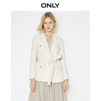 ONLY Women's  White Woven Lace-up Blazer | 119308537