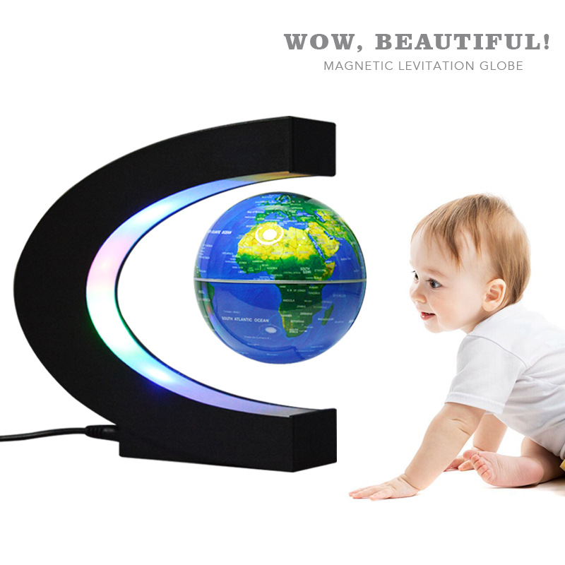 For European Power Supply Magnetic Levitation Globe Student School Teaching Instrument Night Light Globe Creative Gift Suitable