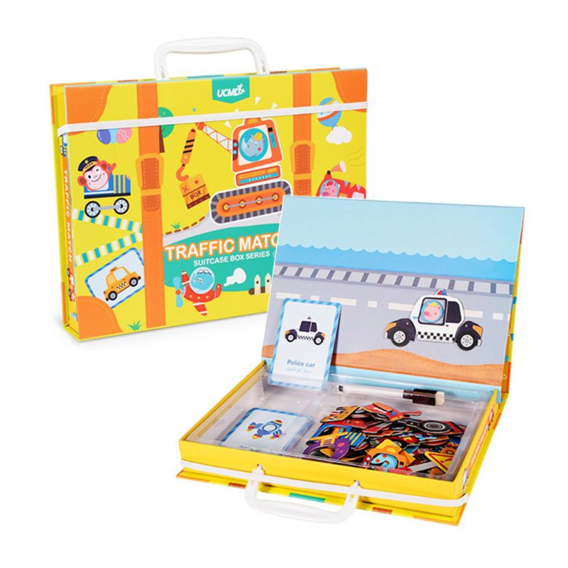 Magnetic Cartoon Puzzle 3D Traffic Matching Games Early Learning Educational Toy
