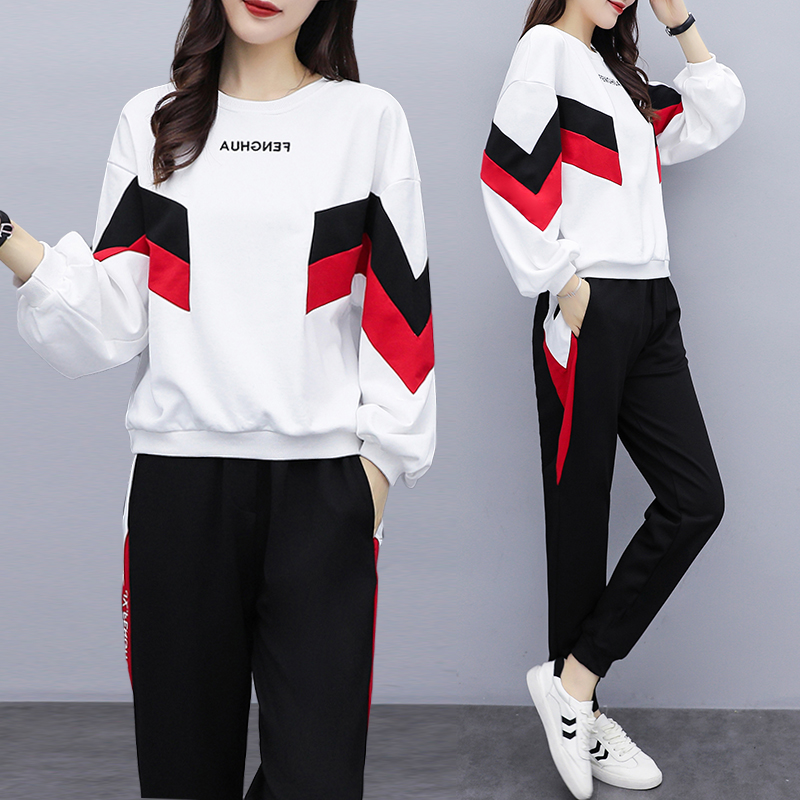 Fashion Long-sleeved Women's Sports Suit 2020 Spring Tracksuit Female Lapel Top+pant Two Piece Outfits