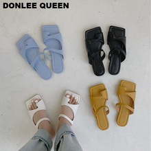 Fashion Square Toe Slippers Women Slip On Slides Flat Casual Summer Shoes Beach Flip Flops Sandals Brand Slipper Massage Outsole