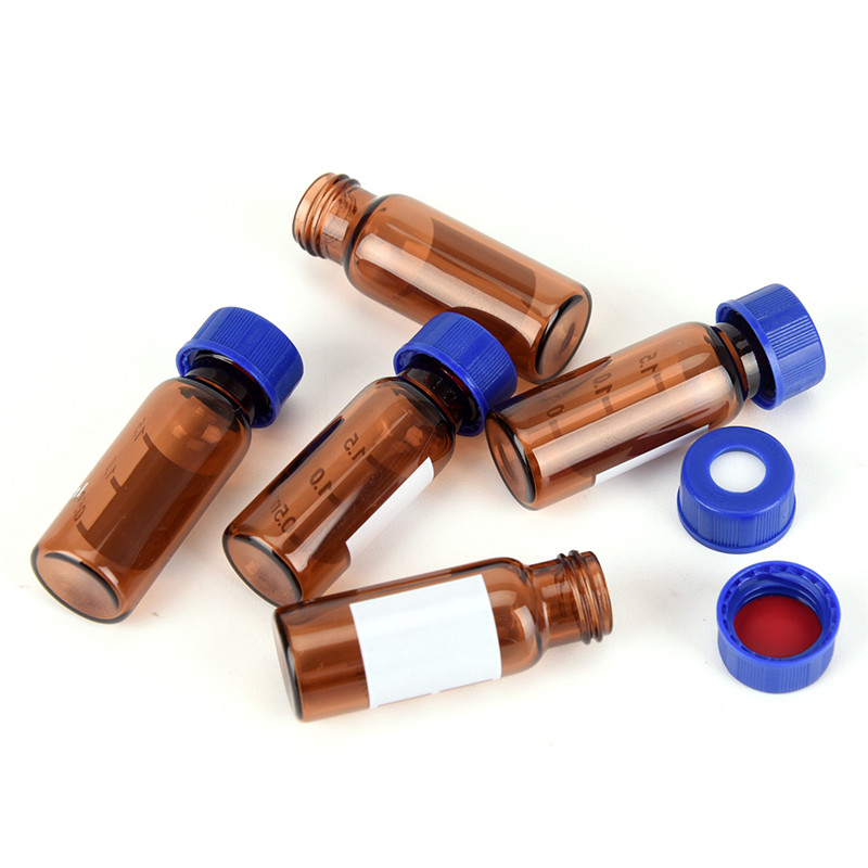 5 Pc 2ml  Glass Brown Plastic Lid Graduated Round Glass Reagent Bottle Blue Screw Cap Screw On Cover Graduation Sample Vials