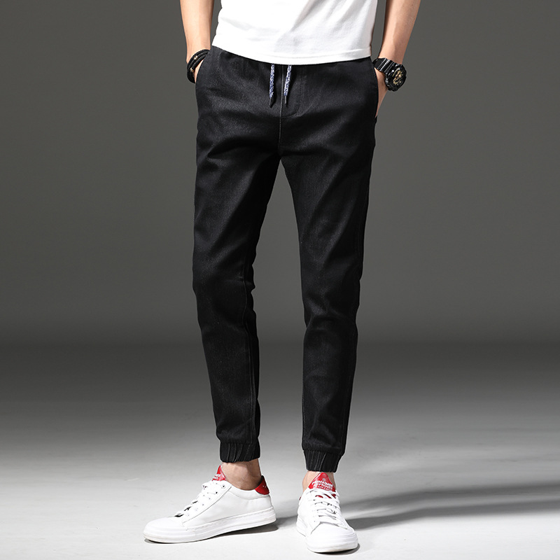 Fashion New Style 2018 Autumn And Winter Youth Men With Drawstring Rubber Band Casual Jeans Beam Leg Fashion Man Slim Fit Versat
