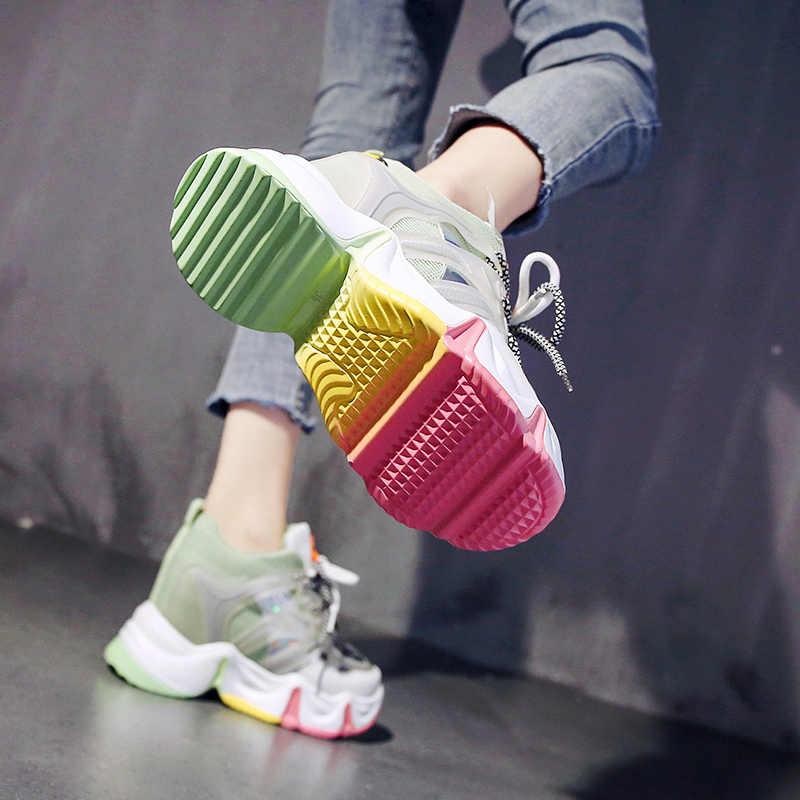 Mới 9 Cm Tăng Chiều Cao Dành Cho Nữ Thời Trang Rainbow Đế Nền Tảng Nêm Chun Giày Casual Xuân Hè Lưu Hóa Giày