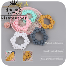 Kissteether 1pcs Baby Teether Gym Play Toy Silicone Beads Teething Bracelet Pendant Food Grade Montessori Baby Products Toys
