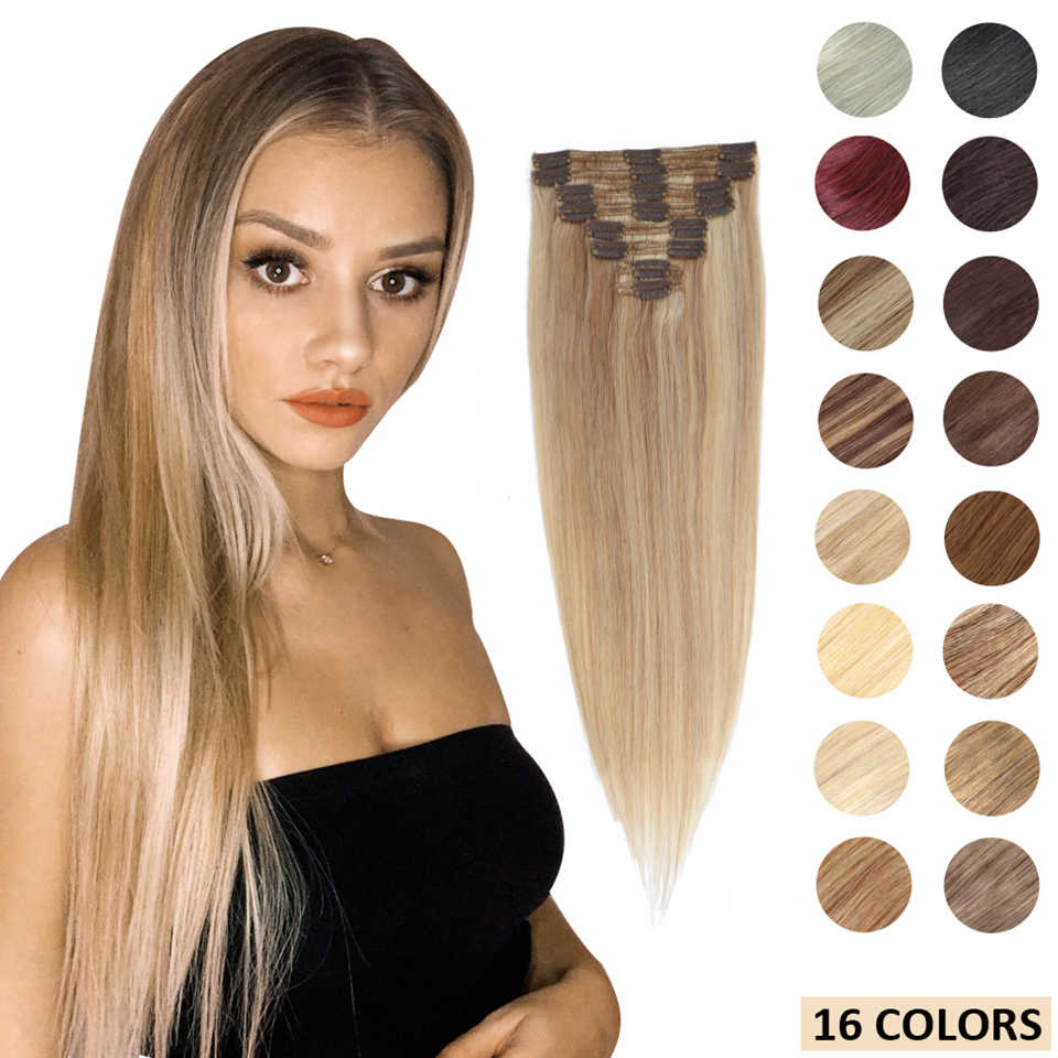 MRSHAIR Clip in Human Hair Extensions Blonde Highlight Clip in Straight Hair Extension Full Head 8pcs 14 18 22 Inch Machine Remy