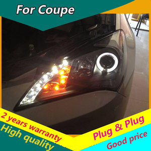 Kowell estilo do carro para hyundai genesis coupe faróis rohens led farol h7 d2h hid opção anjo olho bi xenon feixe