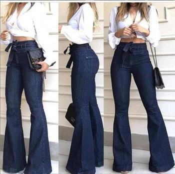 High Waist Hip Strap Flared Trousers Wide Leg Pants Jeans Female