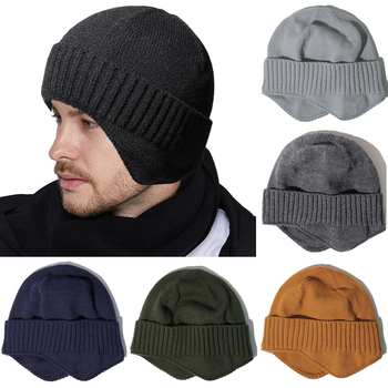 Winter Men's Hat Fashion Beanies Ear Protect Knitted Hat Skiiing Cycling Solid Hat Men Beanie Winter Outdoor Sports image