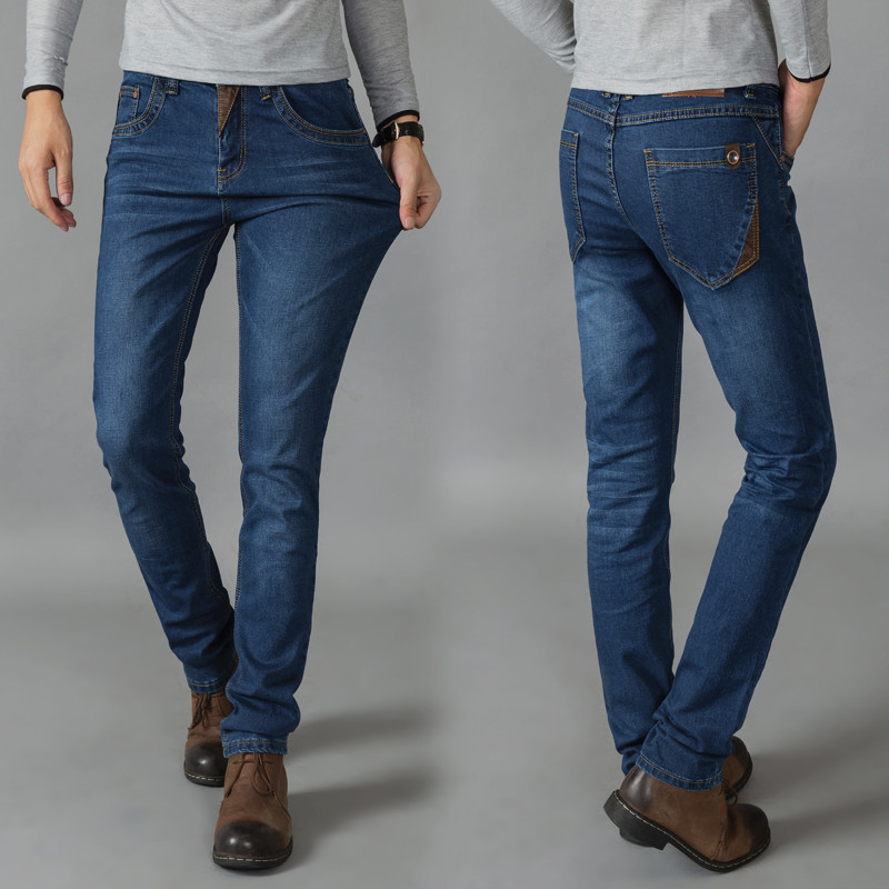 Elasticity Trend Jeans Youth Versatile Slim Fit Korean-style Fashion Man Skinny Pants Winter Style Casual Pants