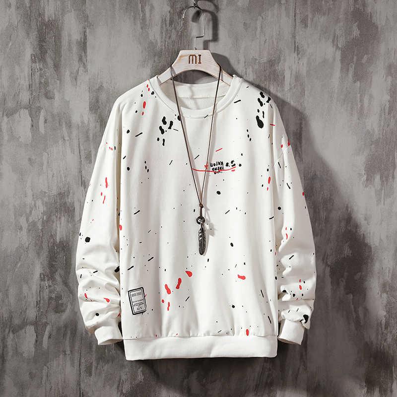 El-boyalı tişörtü erkek/kadın Hoodies sanat boyalı kazak kış gevşek üstleri