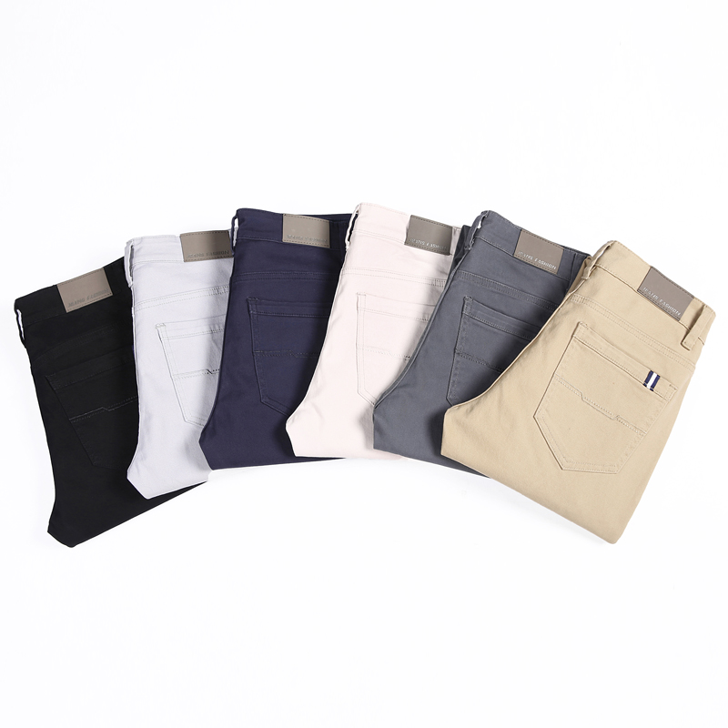 Classic 6 Color Casual Pants Men Spring Autumn New Business Fashion Comfortable Stretch Cotton Elastic Straigh Jeans Trousers 2