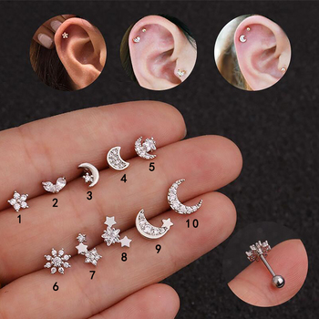 1pc Silver Color Body Jewelry Moon Star Flower Heart Stainless Steel Barbell Zircon Tragus Cartilage Helix.jpg 350x350 - 1pc Silver Color Body Jewelry Moon Star Flower Heart Stainless Steel Barbell Zircon Tragus Cartilage Helix Rook Piercing Earring