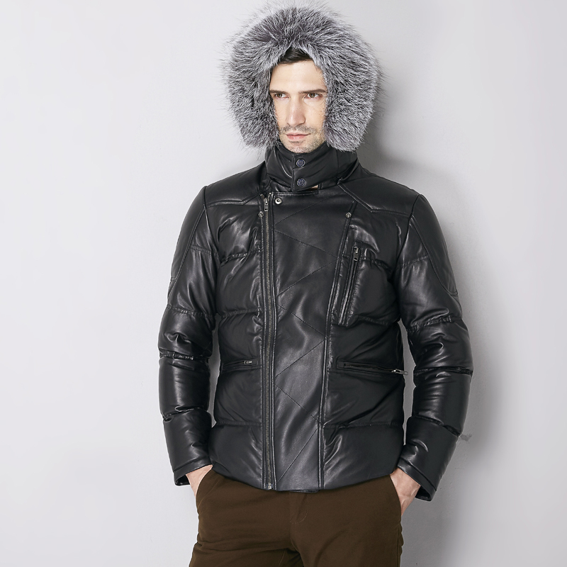 2020 Geniune Leather Jacket Men Sheepskin Leather Goose Down Coat With Real Silver Collar Warm Campera 16-H38# MF382
