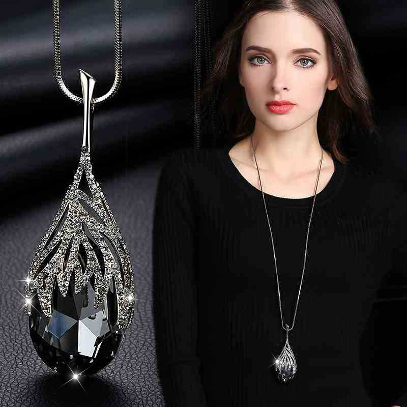 New Arrival Long Necklaces for Women 2021 Fashion Gray Crystal Choker Collier Femme Statement Necklaces & Pendants Accessories