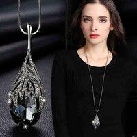 Neue Ankunft Lange Halsketten für Frauen 2021 Mode Grau Kristall Halsreif Collier Femme Erklärung Halsketten & Anhänger Zubehör