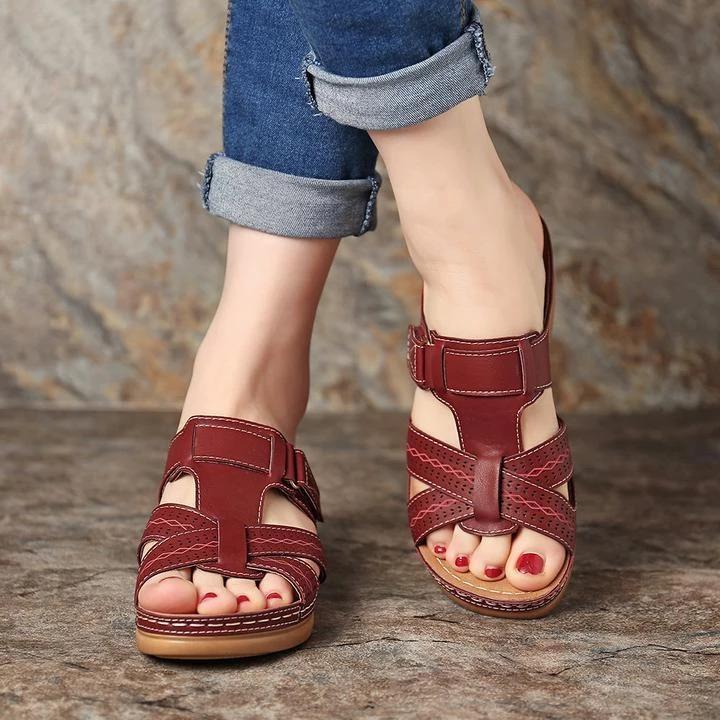 Women Summer Open Toe Comfy Sandals Super Soft Premium Orthopedic Low Heels Walking Sandals  Toe Corrector Cusion