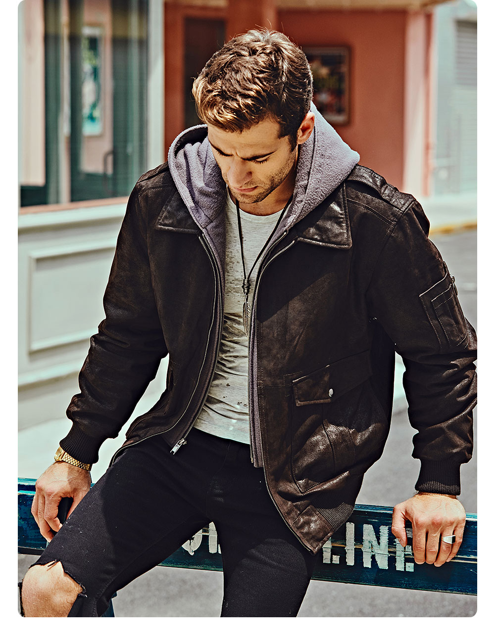 H92c1aca044c64e3bb0f331c19da51e07A FLAVOR New Men's Genuine Leather Bomber Jackets Removable Hood Men Air Forca Aviator winter coat Men Warm Real Leather Jacket