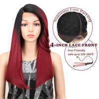 Magique Hiar perruques droites 22 pouces Blonde rouge synthétique dentelle avant perruques résistant à la chaleur Fiber synthétique Ombre cheveux pour les femmes noires