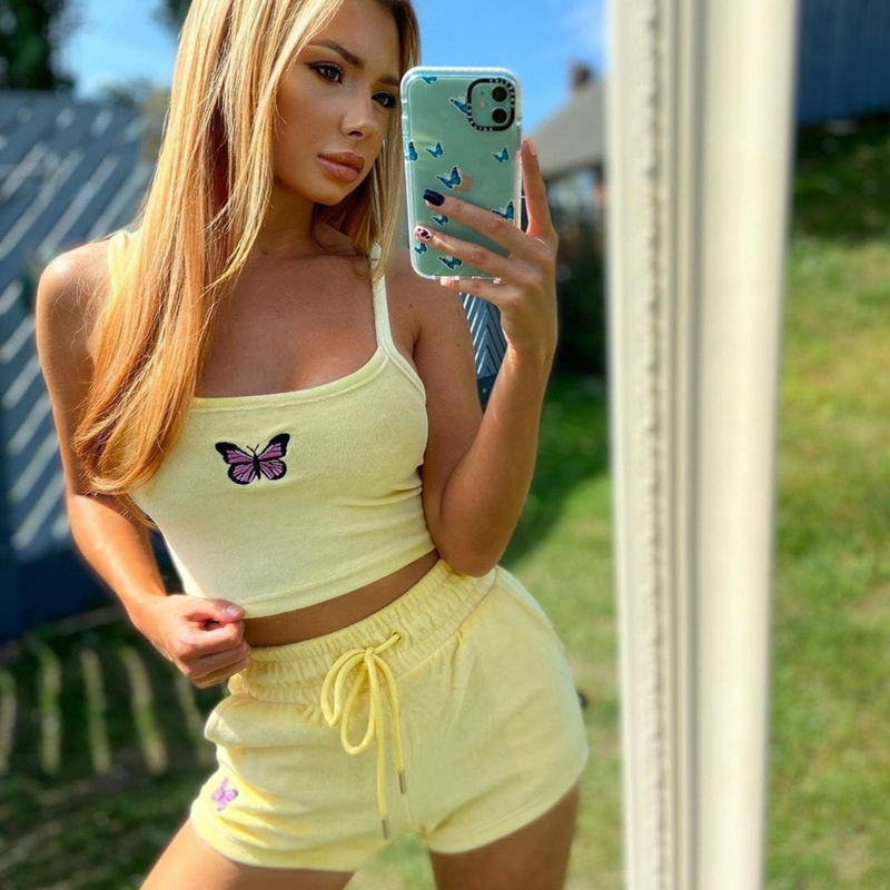 Yellow Embroidered Butterfly Velvet Crop Top Short Set