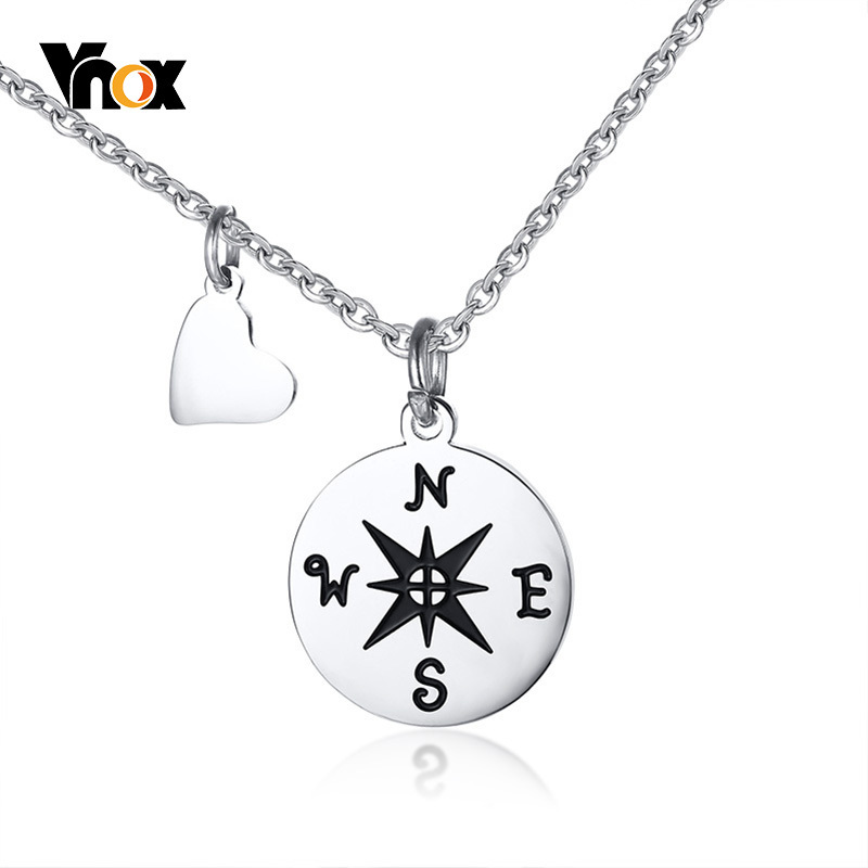 Vnox Compass Necklaces for Best Friend Gift Stainless Steel Small Dainty Pendant for Travel Long Distance Graduation Accessories(China)