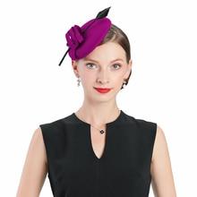 Royal Purple Ladies Weddings Wool Feather Hats Fascinators Women Kentucky Derby Church Fedoras Party Dress Tea Prom Hat