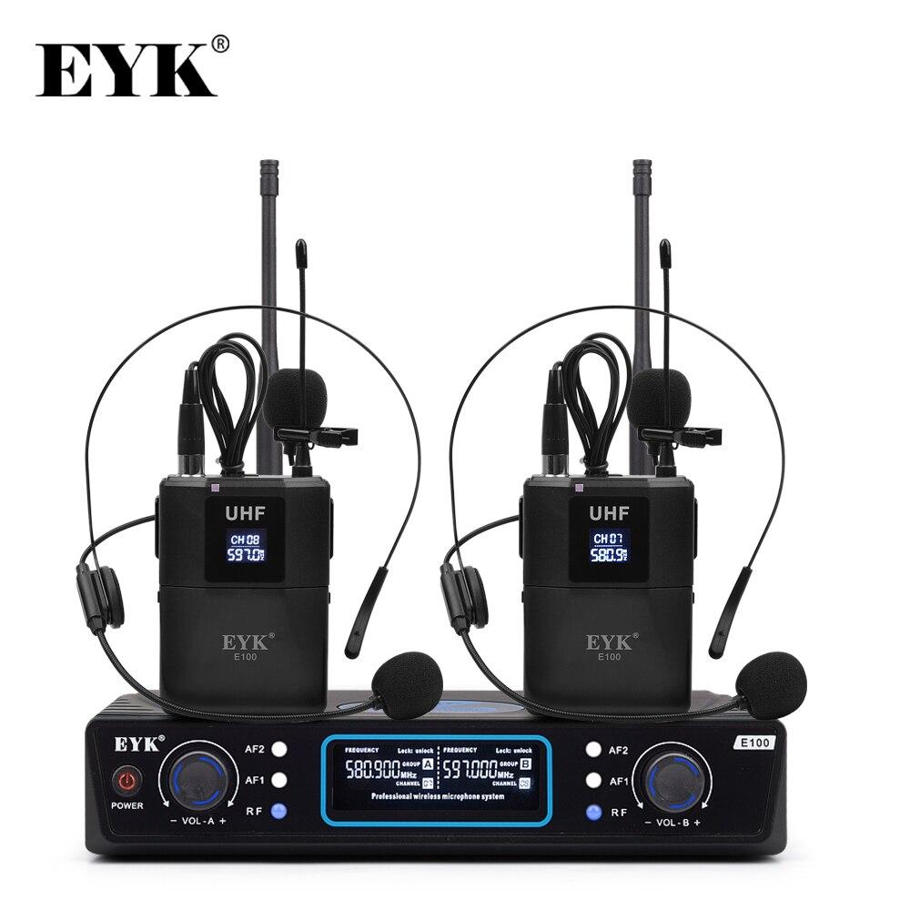EYK E100 UHF 2 Channel Wireless Microphone 2 Bodypack Transmitter With 2 Headset Mic + 2 Lavalier Lapel Mic For Speech Karaoke