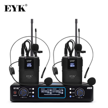 EYK E100 UHF Dual Channel Wireless Microphone 2 Bodypack Transmitter with 2 Headset Mic + 2 Lavalier Lapel Mic for Church Speech