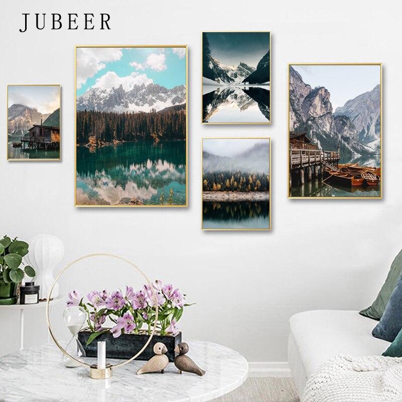 Orman göl posterler ve baskılar tekne duvar resimleri kar dağ duvar sanatı oturma odası için ev dekor için tuval boyama odası