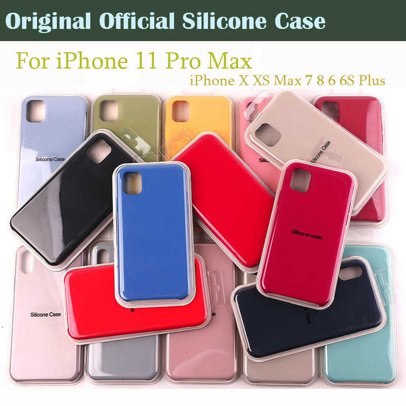 Fundas de silicona oficiales originales para Apple iPhone 11 Pro MAX XR X Xs MAX funda trasera para iPhone 11 7 8 6s Plus Logo funda