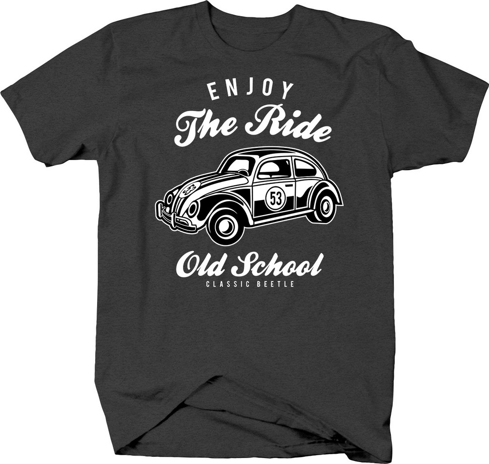 Enjoy The Ride Old School Classic Beetle Vintage Car Cruise Tshirt T-Shirt Cool Casual Cotton