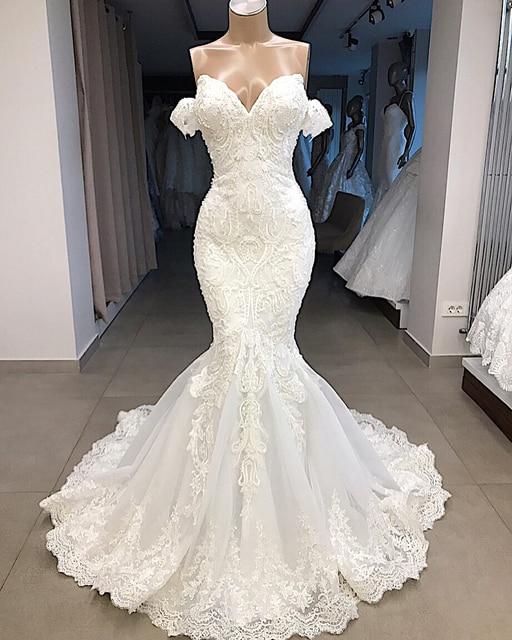 Vestido דה Noiva Sereia סקסי חרוזים תחרת בת ים שמלות כלה 2019 כבוי כתף הכלה חתונת כותנות Robe דה Mariee שמלת