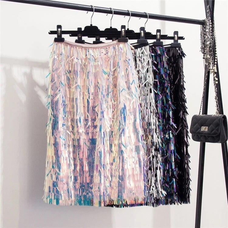 Marwin 2019 nouveauté automne hiver paillettes jupes mode perles genou-longueur Empire Sexy Club jupes de noël