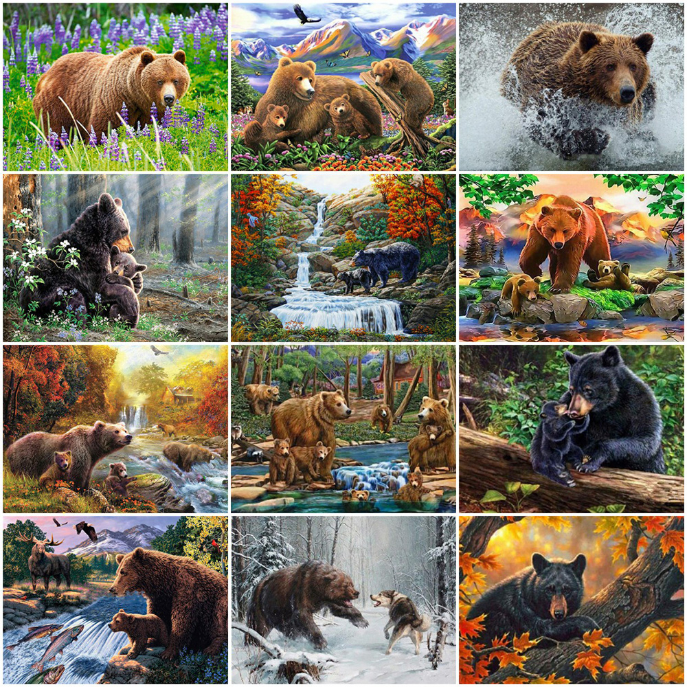 EverShine Paint By Numbers Kit Bear Wall Art Hand Painted Sale Animals Picture Drawing Canvas Home Decor
