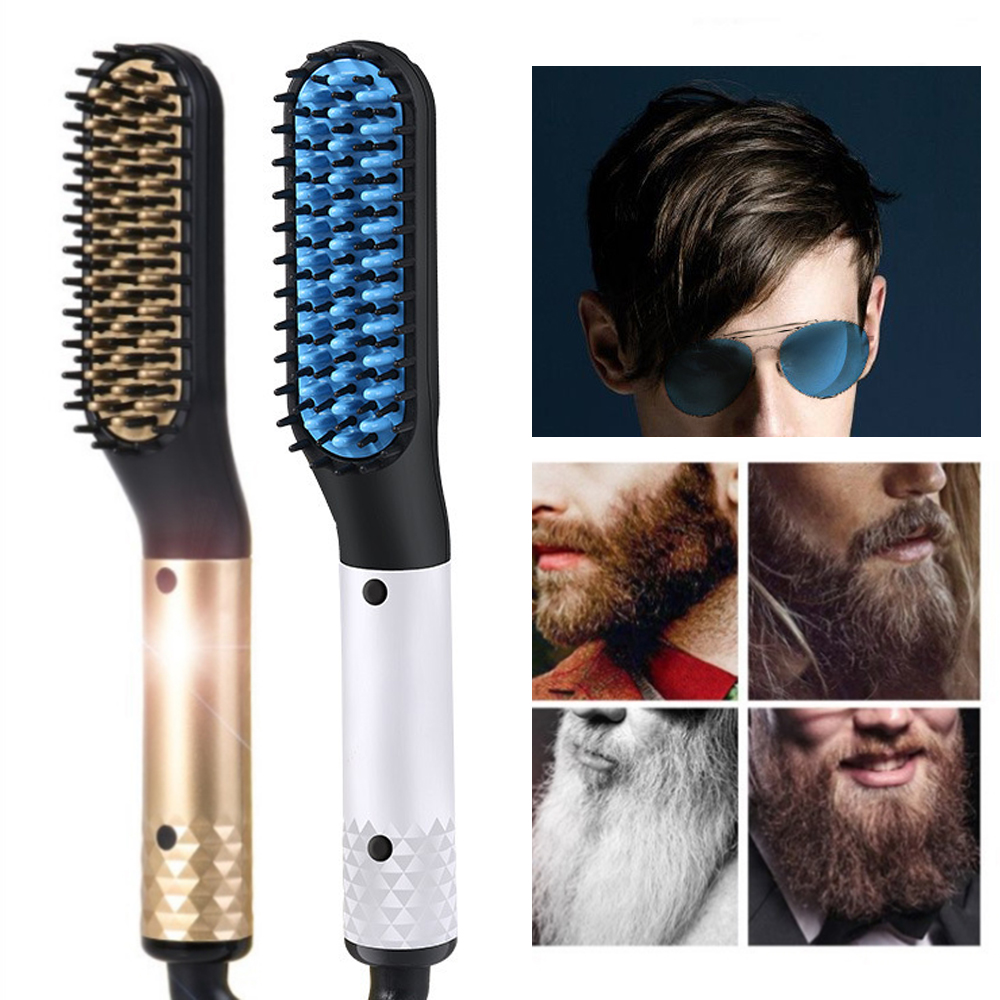 2 IN 1 Multifunctional Straight Hair Comb Beard Styling Comb Styling Smooth Comb Ceramic Hair Straightener Quick Hair Styler Men