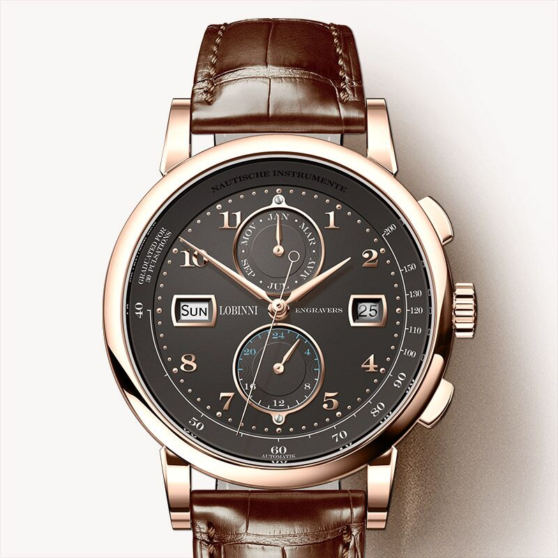 Image 3 - Switzerland Luxury Brand LOBINNI Watches Men Automatic Mechanical Mens Watch Multi function Sapphire Moon Phase Clock L16001 3Mechanical Watches   -