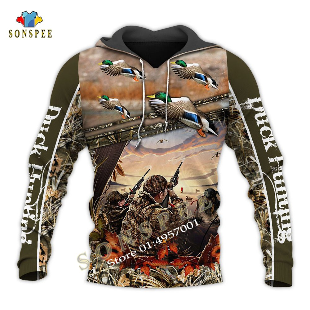 New Fashion 3D Men's Hoodie Camouflage Hunting Wild Duck Animal Print Long Sleeve Hooded Sweatshirts Unisex Pullover Streetwear