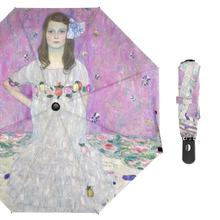 Painting-Umbrella Folding Fully-Automatic Portable Women Three Gustav Oil Klimt for Girl