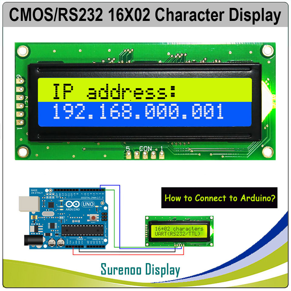 UART CMOS RS232 Serial 1602 162 16*2 Character LCD Module Display Screen LCM For Arduino, Support Keyboard Blue Yellow Green