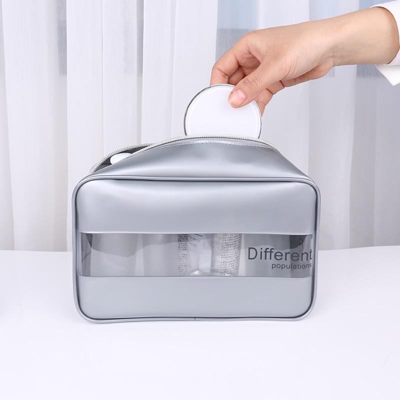 Travel Cosmetic Bag Organizer Makeup Bag Quick Transparent Beautician Toiletry Bag Waterproof Clear Make Up Bag PVC Makeup Pouch