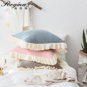 REGINA poszewka na poduszkę niebieski różowy Patchwork beżowy wzburzyć dzianiny bawełniane obicia na poduszki słodkie kobiety Home Decor ładna dziewczyna poszewka na poduszkę