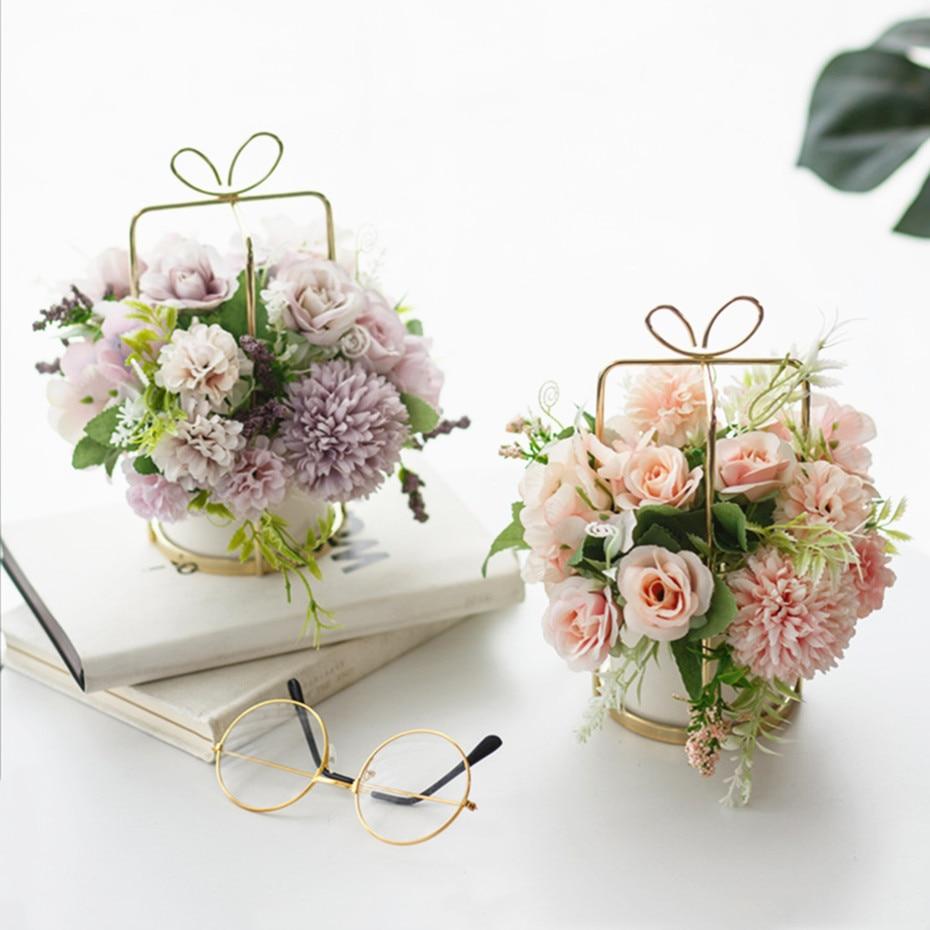 2020, Европейский стиль, искусственный набор горшков для цветов, ваза для стола, украшение для интерьера, искусственные украшения для дома в горшке, искусственный поток|Искусственные и сухие цветы|   | АлиЭкспресс