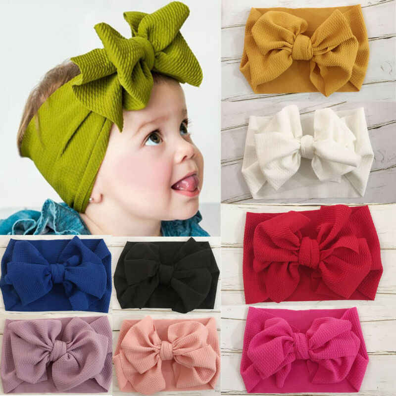 Toddler Girls Kids Baby Big Bow Headband Stretch Turban Knot Head Wraps Solid Color Lovely Girls Headband Gifts