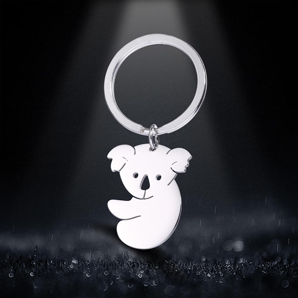 Skyrim Koala Protect Keychain Key Ring Holder Women Men Lovely Stainless Steel Car Keychains Memorial Gift Pendant For To Bag